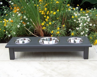 "Custom Finished 6"" Tall 3-Bowl Elevated Dog Feeder with Mixed Sized Bowls (one 2-Quart and two 1-Quarts)"