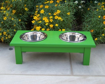 "Custom Painted Elevated Dog Bowl Feeder 6"" Tall with 1-Quart Bowls"