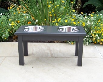 "Custom Painted 12"" Tall Elevated Dog Bowl Feeder with 2-Quart Bowls"