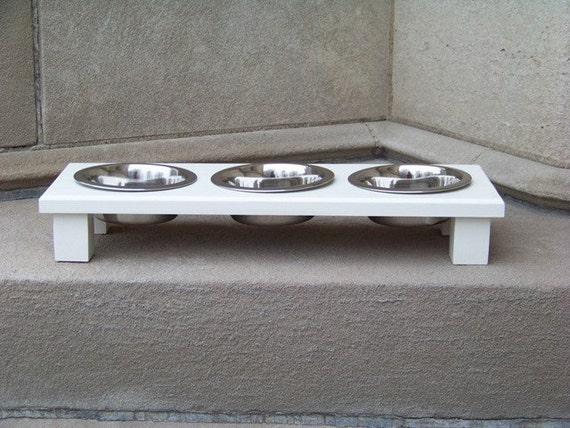 Raised 3-Bowl Pet Feeder 3-Inch Tall 1-Pint Bowls (Custom Painted)
