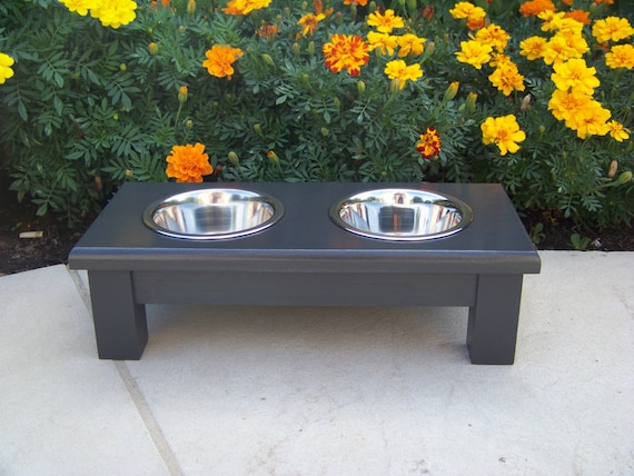 """Black Elevated Dog Bowl Feeder 4.5"""" Tall with 1-Pint Bowls"""
