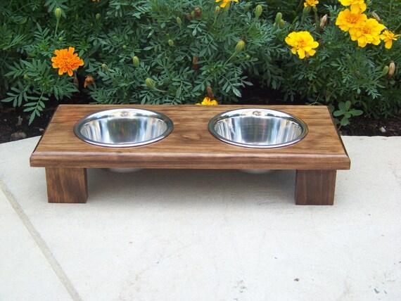 "Raised Pet Bowl Feeder 3"" Tall with 1-Pint Bowls (Dark Walnut)"