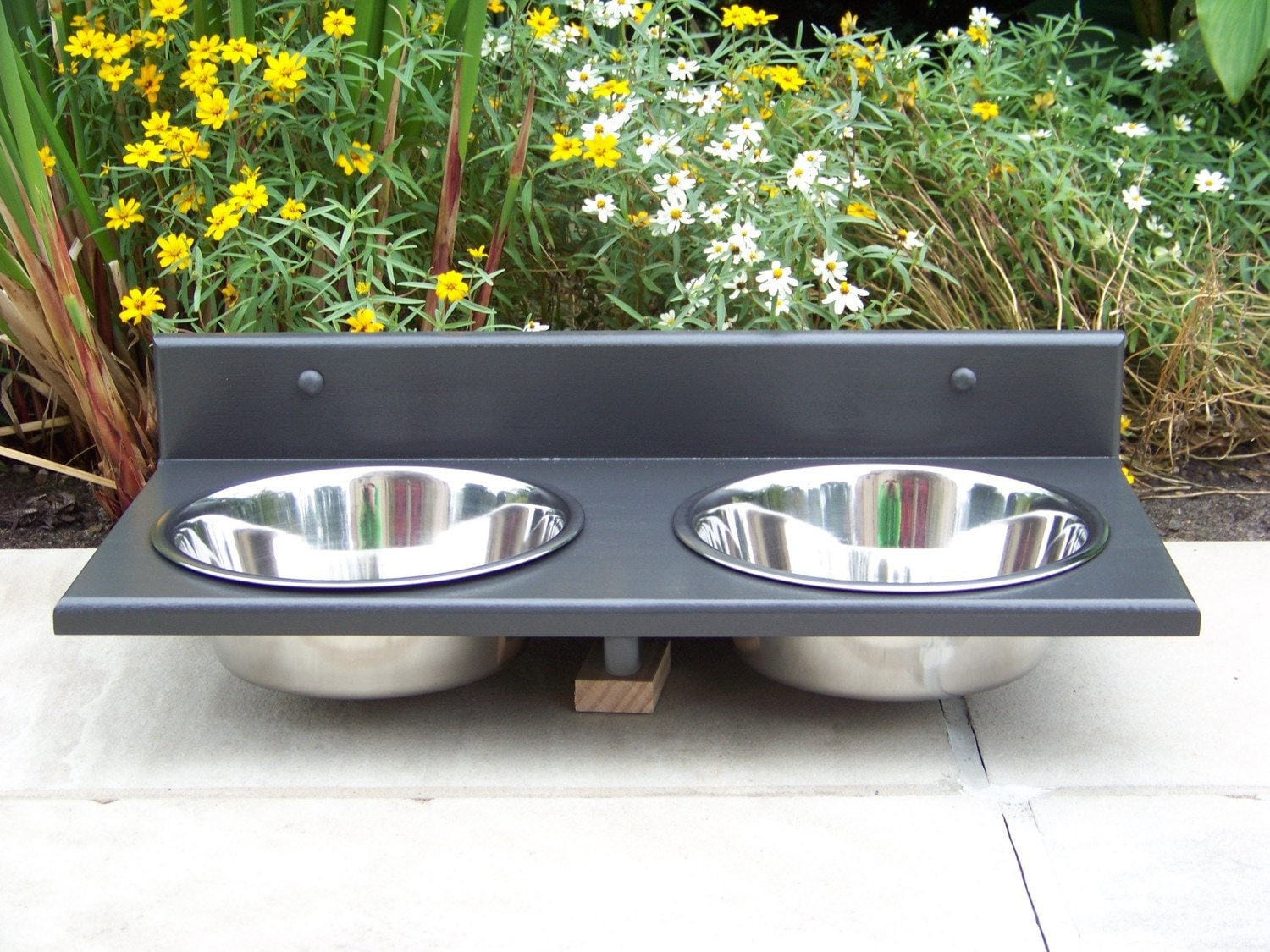 3 quart wall mounted dog bowl feeder custom finished. Black Bedroom Furniture Sets. Home Design Ideas