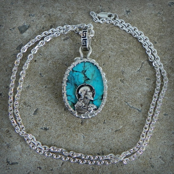 Brotherhood of man talisman of Jesus Morenci turquoise set in Sterling silver with Star of David