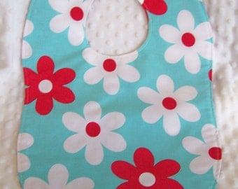 FREE SHIPPING Large Bold Daisy Print with Polka Dots Toddler Baby Bib