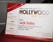HOLLYWOOD themed baby shower invitation star is born red carpet glamour glam