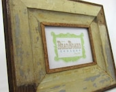 Reclaimed wood picture frame - brown, grey, and cream - 5x7