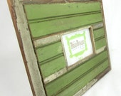 Reclaimed wood picture frame - green, antique white, and brown - 4x6