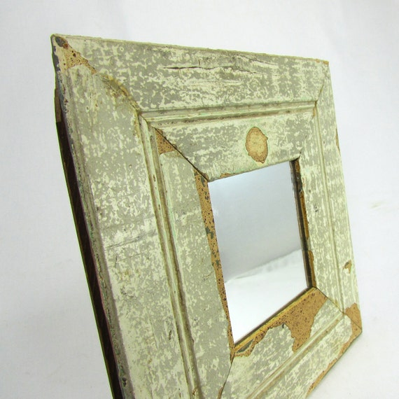 Reclaimed wood frame with mini mirror - antique crackled white