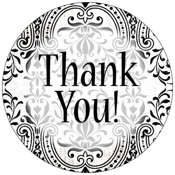 50 Damask Thank You 1.6 Inch Professional Quality Stickers - Personalized