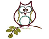 Totally Cute Whimsy Owl applique digital machine embroidery design