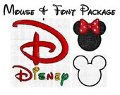 INSTANT Download - Disney inspired  Alphabet And Mouse Ears SET Machine embroidery font satin fill 208 designs