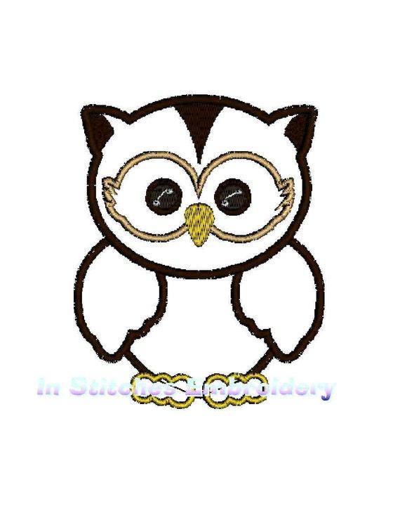 INSTANT Download - Owl applique digital machine embroidery design 3 sizes