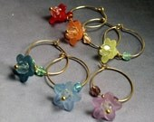 Wine Charms - wine party favors , Set of Six Rainbow Flowers, - sale