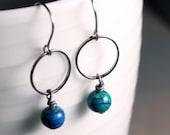 Geometric Jewelry / Minimalist Jewelry:  Gunmetal Hoops with Chrysocolla Gemstones