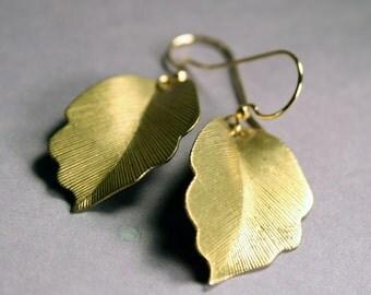 Gold Dangle Earrings - Folded Brass Leaves