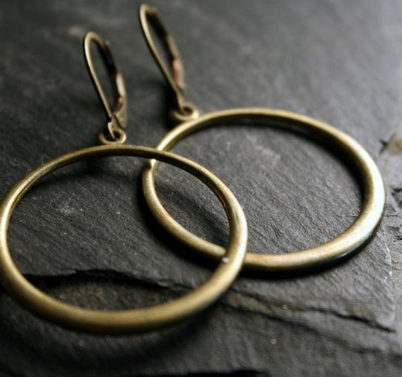 Hoop Earrings - Antiqued Brass Dangle Hoops