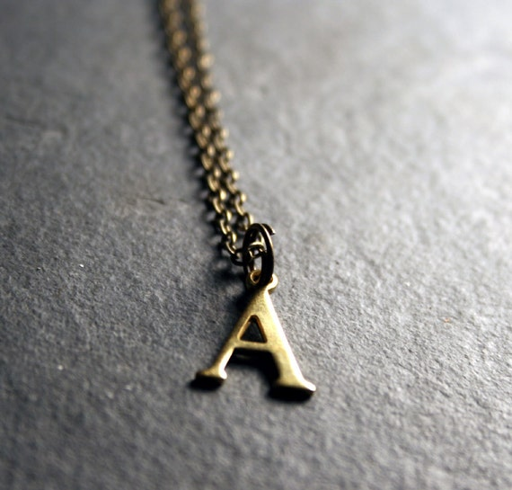 Initial Jewelry: Brass Initial Necklace  - Choose your letter