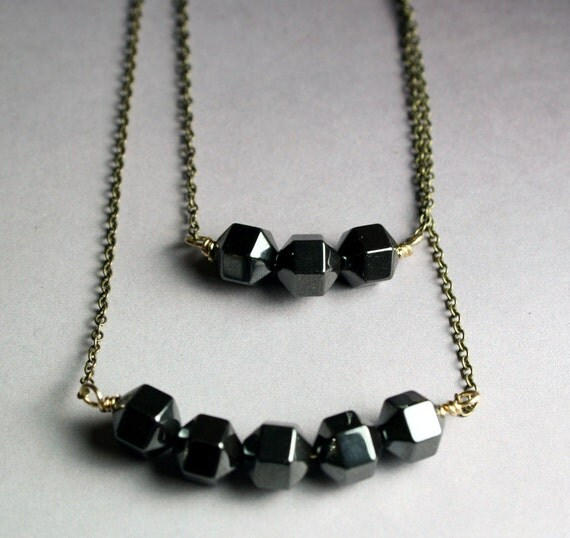 Two Strand Layering Necklace - Hematite and Hexagon