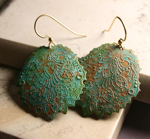 Bohemian Jewelry : Brass Earrings - Verdigris