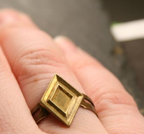 Adjustable Ring -Geometric Jewelry -  Brass Double Diamond