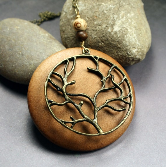 Bohemian Jewelry : Tree Necklace -  Brass and Wood Necklace, Woodland / Natural Style Pendant