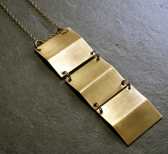 Geometric Jewelry:  Geometric Squares Necklace, Long Chain Statement Necklace