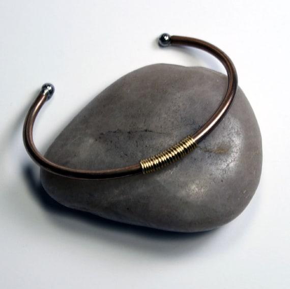 Industrial Bracelet, Minimalist Everyday Jewelry, wirewrapped steel cuff