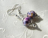 SALE Pansys in Breezes Lampwork Small Dainty Glass Mottled,PurpleSilvertone,,Dangle Earrings SRJAD