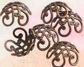 20 pcs antique copper filigree bead caps 10mm C21