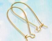 20pcs big golden tone long drop kidney earwire 38mm (0216)