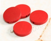10pcs round red wooden bead 25mm W106