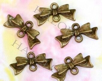 12pcs antique bronze finish bowknot pendant charm 20mm BN032