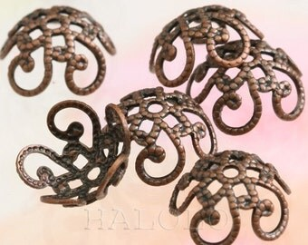 20 pcs antique copper filigree bead caps 10mm C21