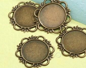 10 pcs antique bronze filigree round base - round inner size 18mm diameter. B83