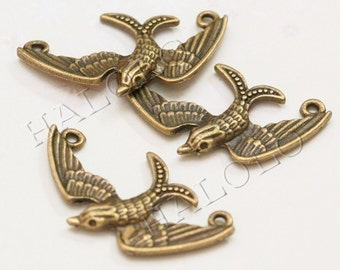 Sale - 12pcs antique bronze happy swallow pendant connector 33mm BN180