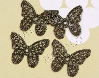 Sale - 36 pcs antique bronze filigree butterfly wrap pendant 32mm BN198