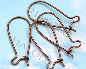20pcs antique copper finish kidney long drop earwire earhook 25mm (0252)