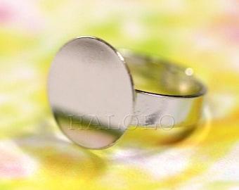 Sale - 10pcs nickle free rhodium finish adjustable ring blanks with big 15 mm flat pad R08D