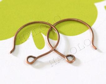 20pcs handmade antique copper finish kidney round earwire ear hooks earring hooks 18mm (0686)