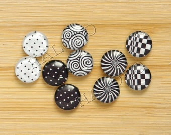 10pcs handmade assorted geometric black and white round glass dome cabochons / Wooden earring stud 12mm (12-9434)