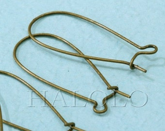 20 pcs bronze finish long drop kidney earwire 33mm (0213)