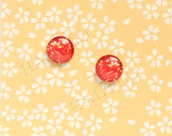 Sale - 10pcs handmade red plants in vintage style round clear glass dome cabochons 12mm (12-91216)
