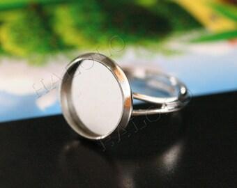 10pcs rhodium finish adjustable ring blanks - for 12mm Cabochons R29H