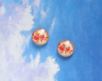 10pcs handmade red flowers with leaves round clear glass dome cabochons 12mm (12-9833)