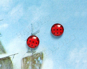 Sale - 10pcs handmade black dots on red background round clear glass dome cabochons 12mm (12-9854)