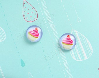 Sale - 10pcs handmade cupcake clear glass dome cabochons 12mm (12-9876)
