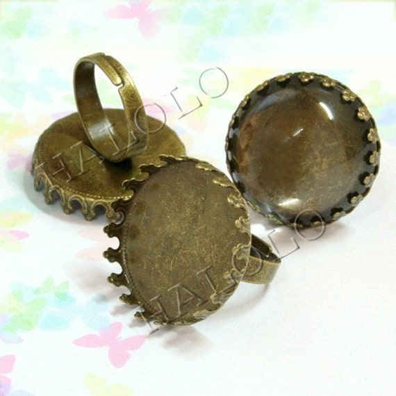 5pcs antique bronze finish adjustable ring blanks with crown base  - pad inner size is 25mm diameter.  R06C