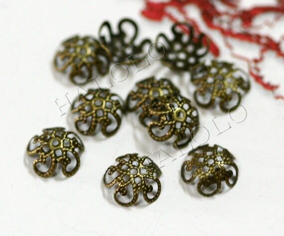 40pcs antique bronze filigree bead caps 10mm C20
