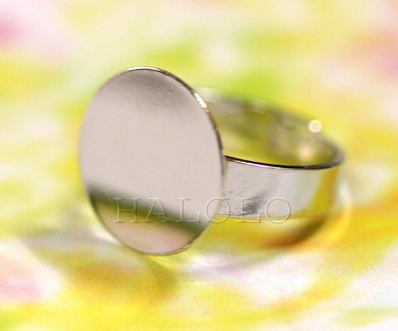 30pcs nickle free rhodium finish adjustable ring blanks with big 15 mm flat pad R08D